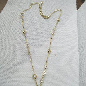 Henri Bendel Crystal necklace gold tone